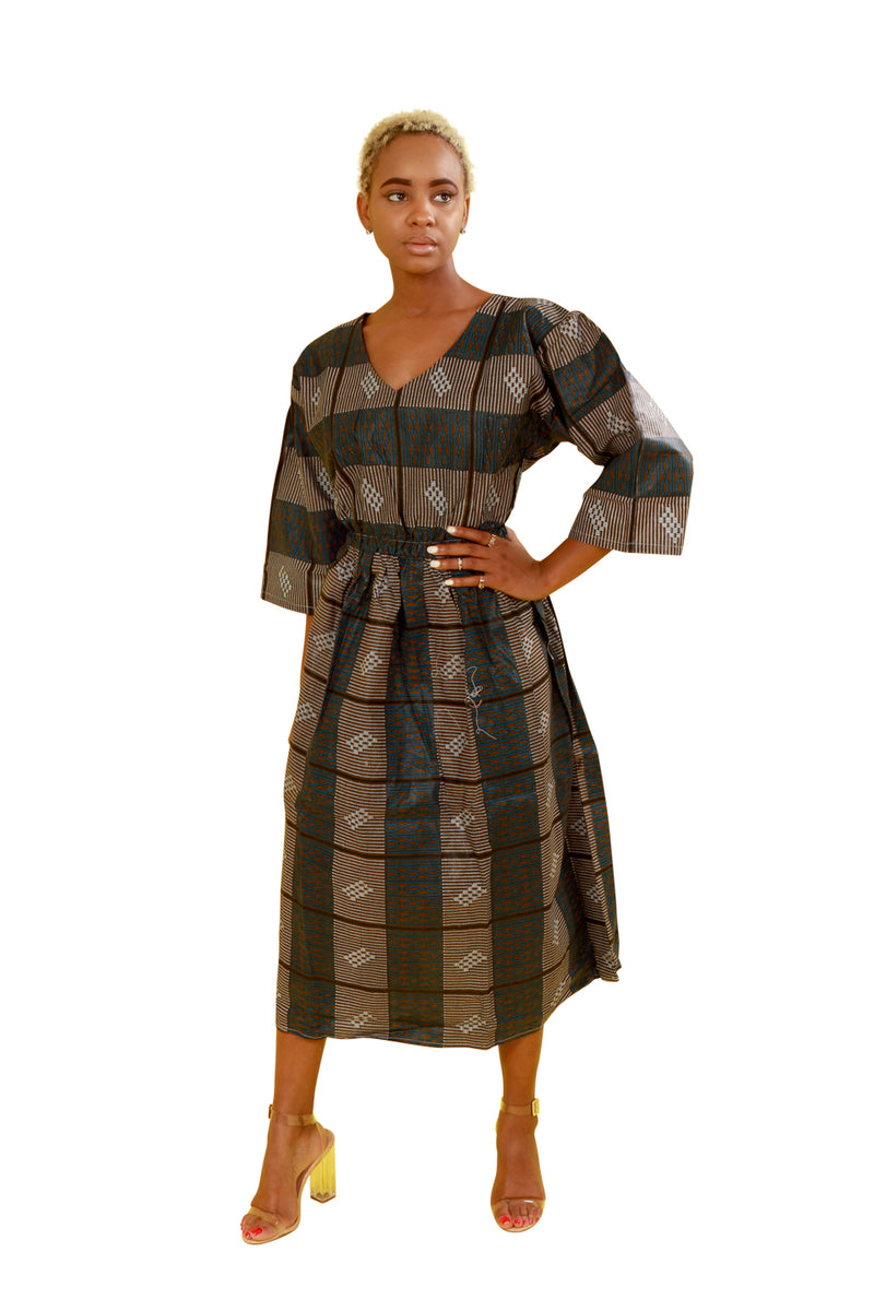 Dark Blue/grey Dekh Quarter Sleeve African Fabric Dress - Dress Nolafrique African Print Dress