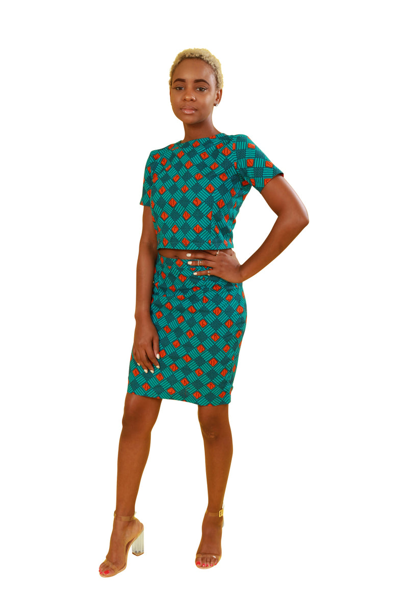 Amanda Custom African Print Skirt Outfit - Custom Set Nolafrique African Fabric Two Piece Crop Top And Shirt Set Custom Set