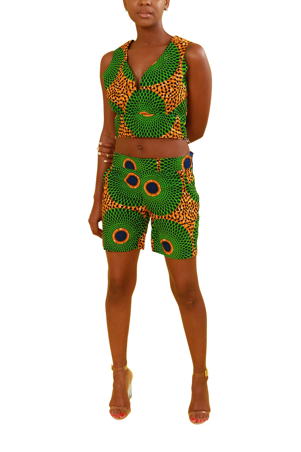 Custom Ghanaian Two Piece Shorts And Crop Top Set - Custom Set Nolafrique Custom Set