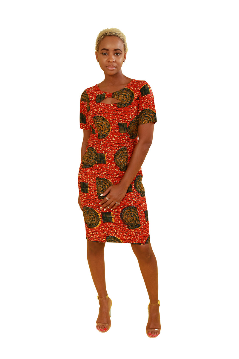 Custom Ghanian African Print Peep Hole Dress - Custom Set Nolafrique Custom Set
