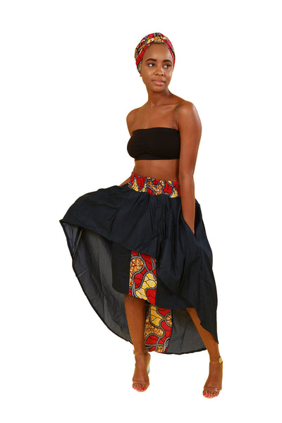 High Low Denim And African Print Skirt With Headwrap - Skirt Nolafrique African Fabric Skirt Jean Skirt