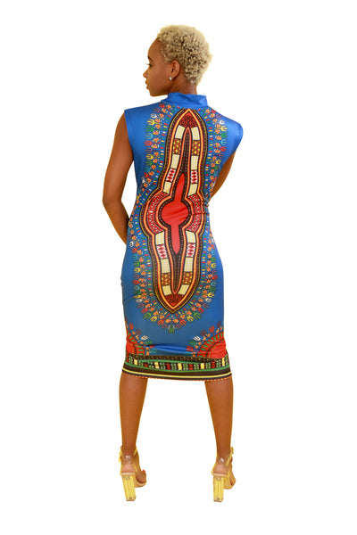 Blue Fitted Dashiki Dress - Dress Nolafrique African Print Dress