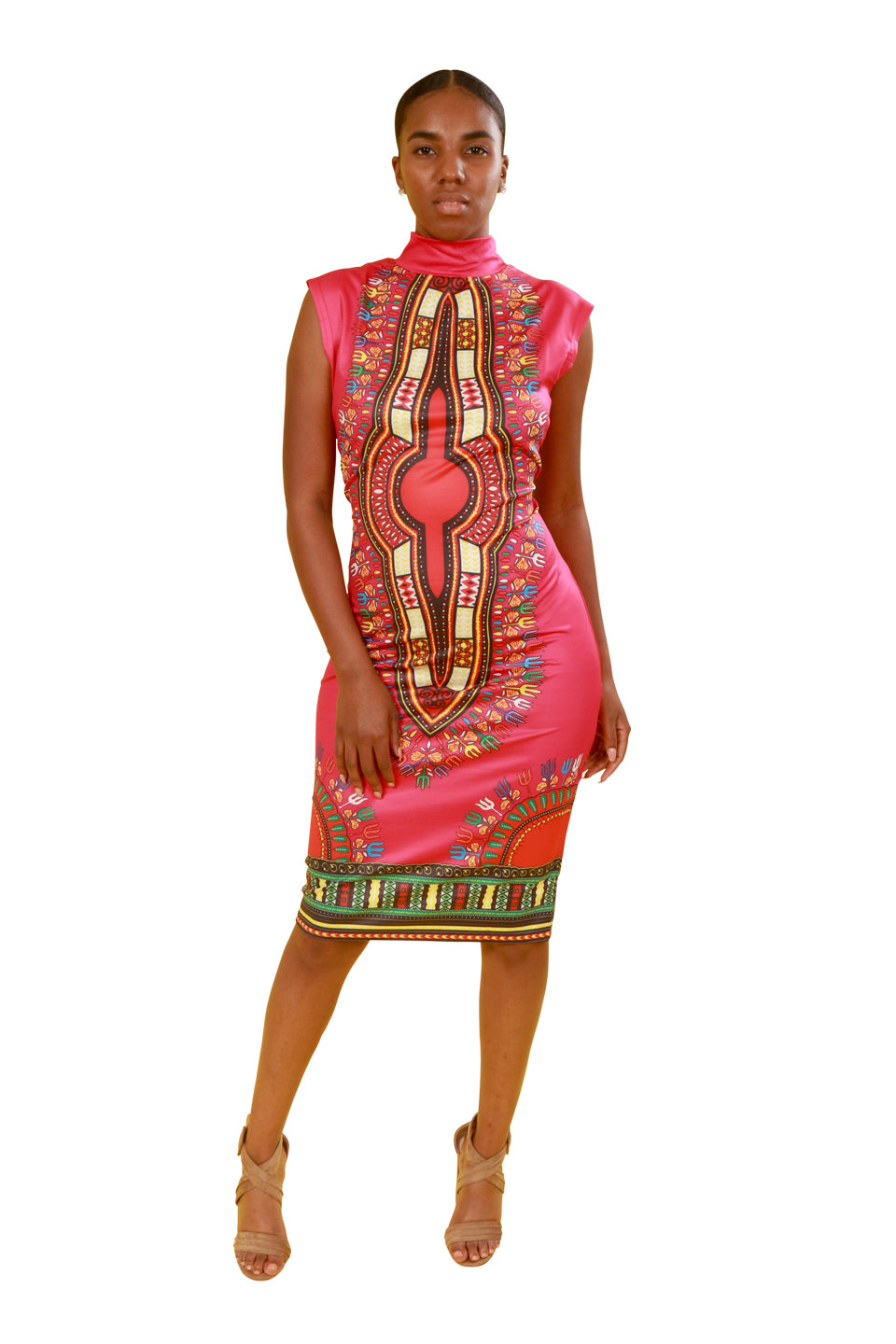 Pink Fitted Dashiki Dress - Dress Nolafrique African Print Dress
