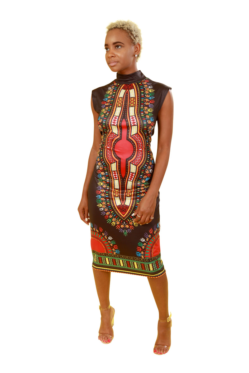Black Fitted Dashiki Dress - Dress Nolafrique African Print Dress
