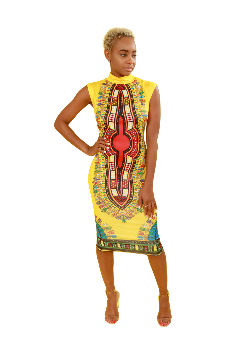 Yellow Fitted Dashiki Dress - Dress Nolafrique African Print Dress