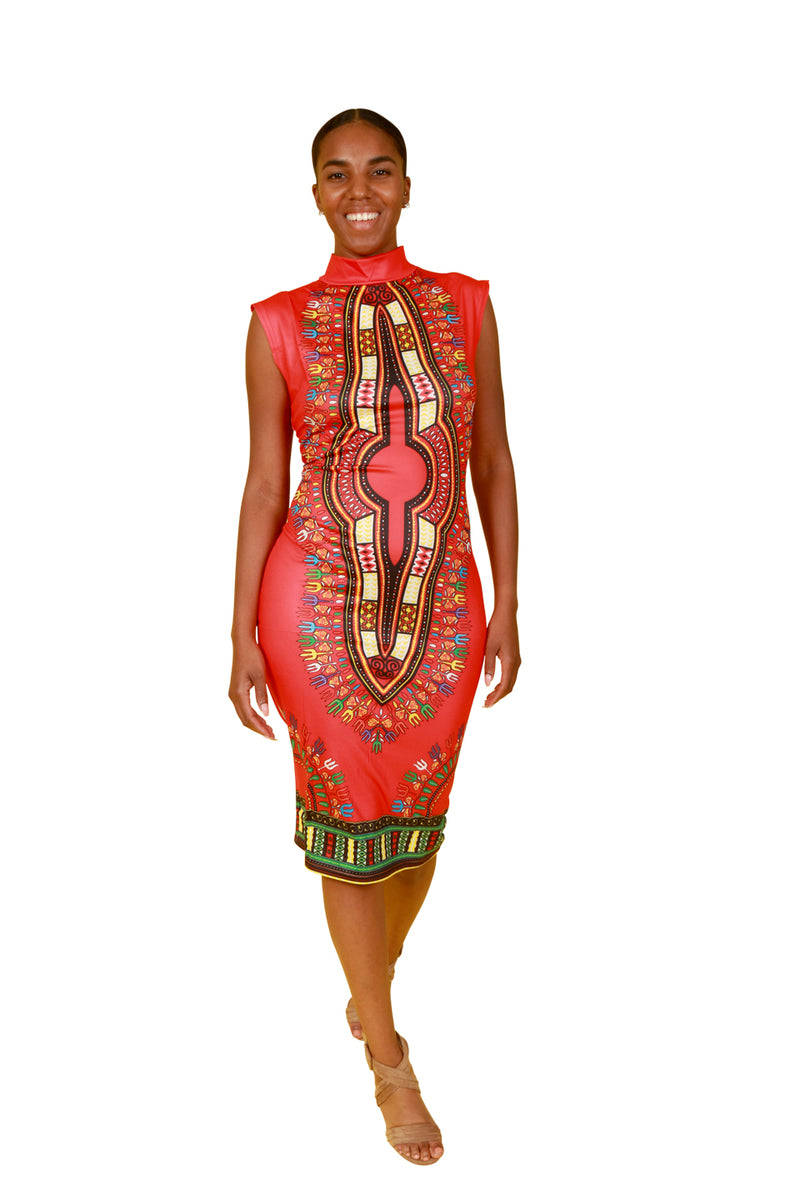 Red Fitted Dashiki Dress - Dress Nolafrique African Print Dress