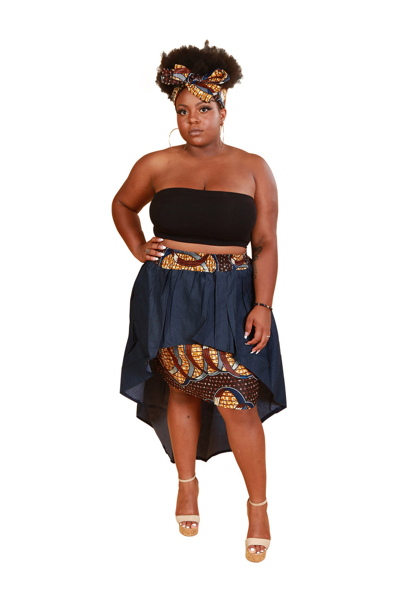High Low African Fabric Skirt With Headwrap - Skirt Nolafrique African Fabric Skirt