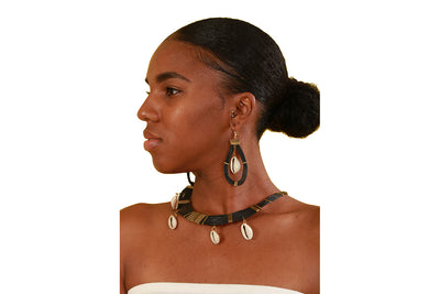 Imani Cowrie Shell Necklace/ Earrings Set - Accessories Nolafrique Accessories Earring Necklace Set