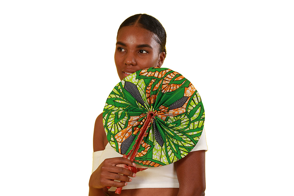 Yaa African Print Folding Fan - Accessories Nolafrique Accessories Fan