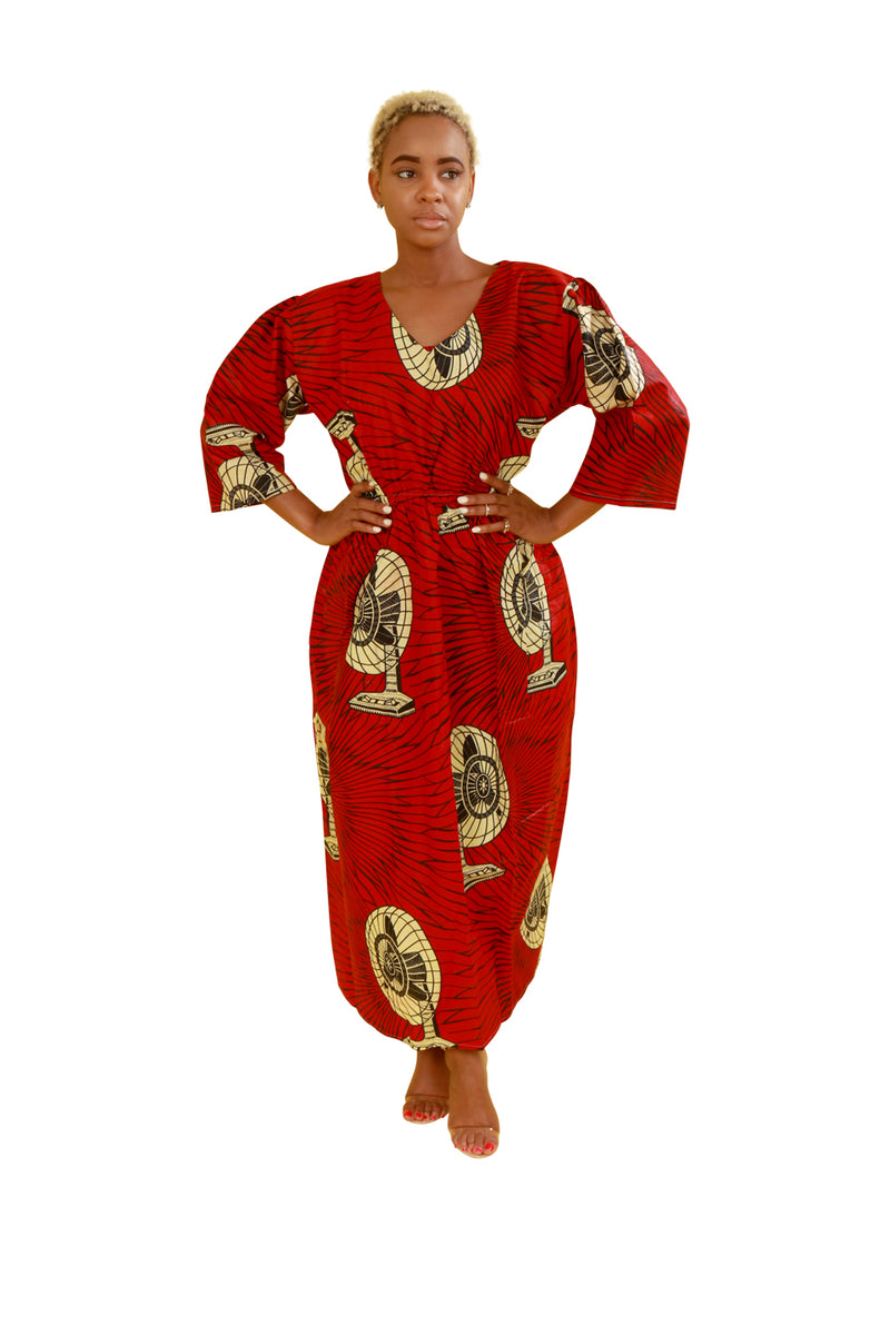 Red Dekh Quarter Sleeve African Fabric Dress - Dress Nolafrique African Print Dress