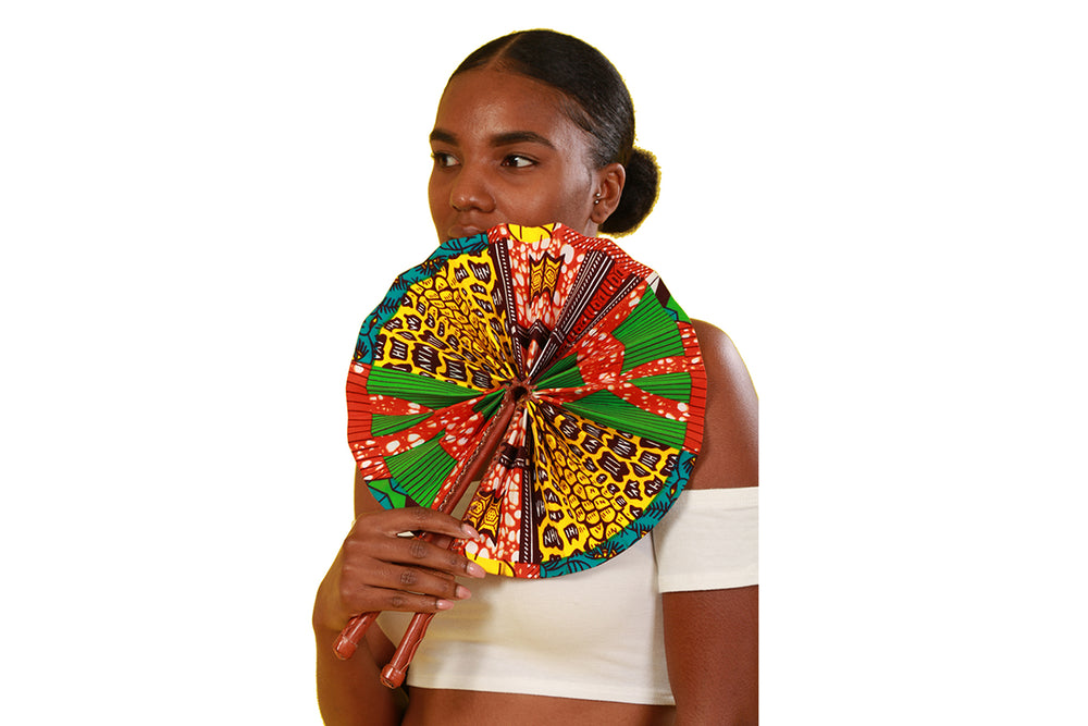 Oboshie African Print Folding Fan - Accessories Nolafrique Accessories Fan