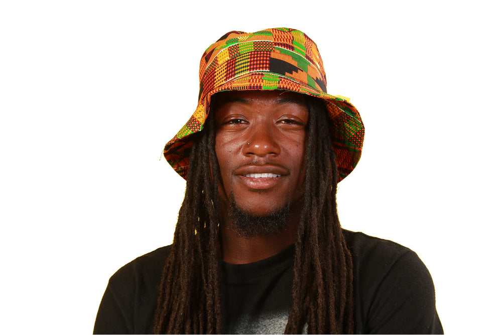 Kente African Fabric Bucket Hat - Hats Nolafrique African Fabric Bucket Hats African Hat African Print Hat Kente Kente Hats