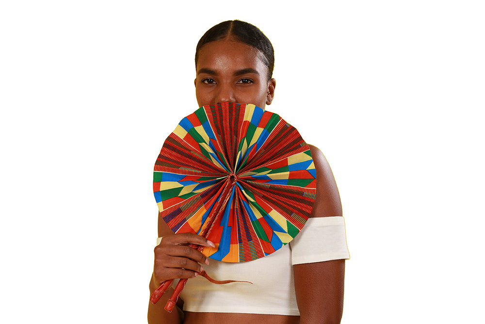 Kente Folding Fan - Accessories Nolafrique Accessories Fan