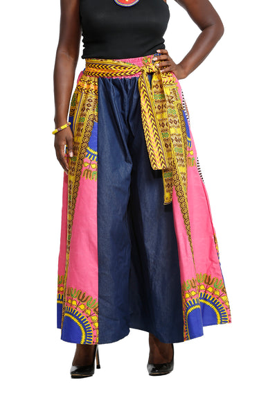 Chiegna Denim Dashiki Wide Leg Pants - African Print Pants Nolafrique African Print Pants