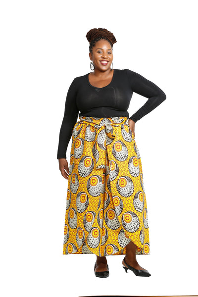 Anya African Fabric Overlap Pants - African Print Pants Nolafrique African Print Pants
