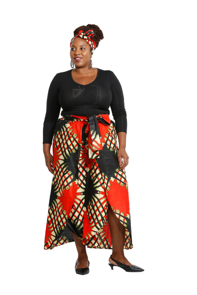 Briyan African Fabric Overlap Pants - African Print Pants Nolafrique African Print Pants