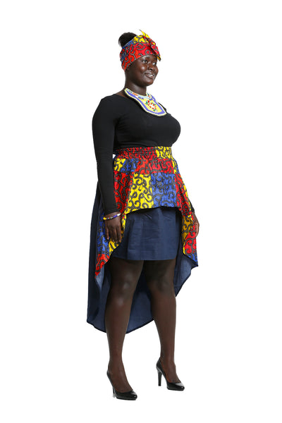 Accra Denim High Low Skirt - Skirt Nolafrique African Fabric Skirt