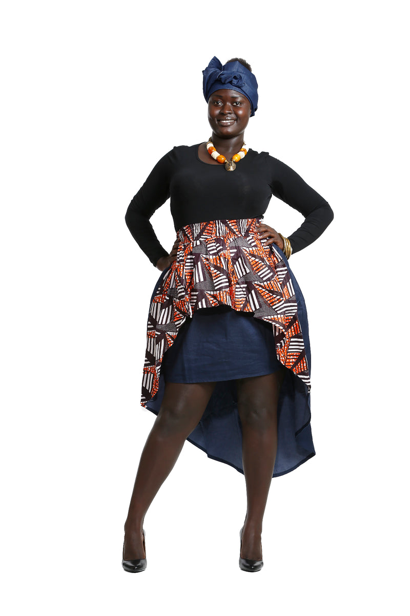 Imna High Low African Print Skirt - Skirt Nolafrique African Fabric Skirt