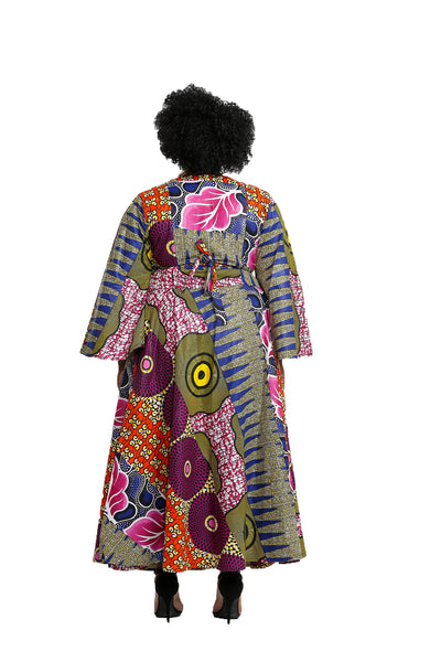 African Fabric Patchwork Wrap Dress - Wrap Dresses Nolafrique African Print Dress