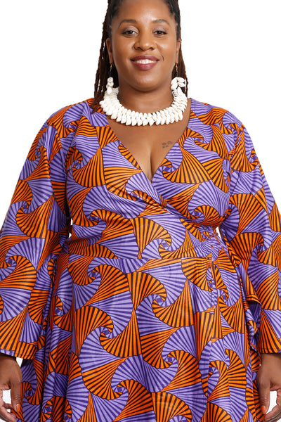 Royal African Fabric Wrap Dress - Wrap Dresses Nolafrique African Print Dress