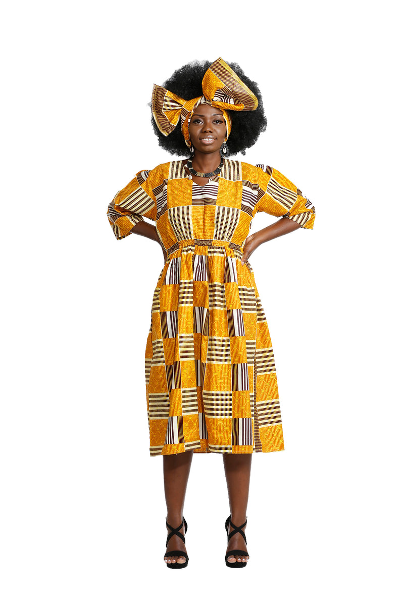 Naaj Quarter Sleeve Dress - Dress Nolafrique African Print Dress