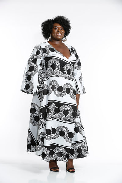 Hassana African Fabric Wrap Around Dress - Wrap Dresses Nolafrique African Print Dress