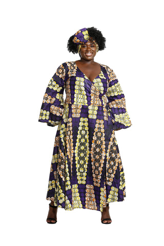 Mariam African Fabric Wrap Around Dress - Wrap Dresses Nolafrique African Print Dress