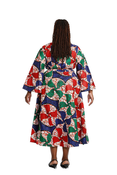 Tati African Print Wrap Around Dress - Dress Nolafrique African Print Dress