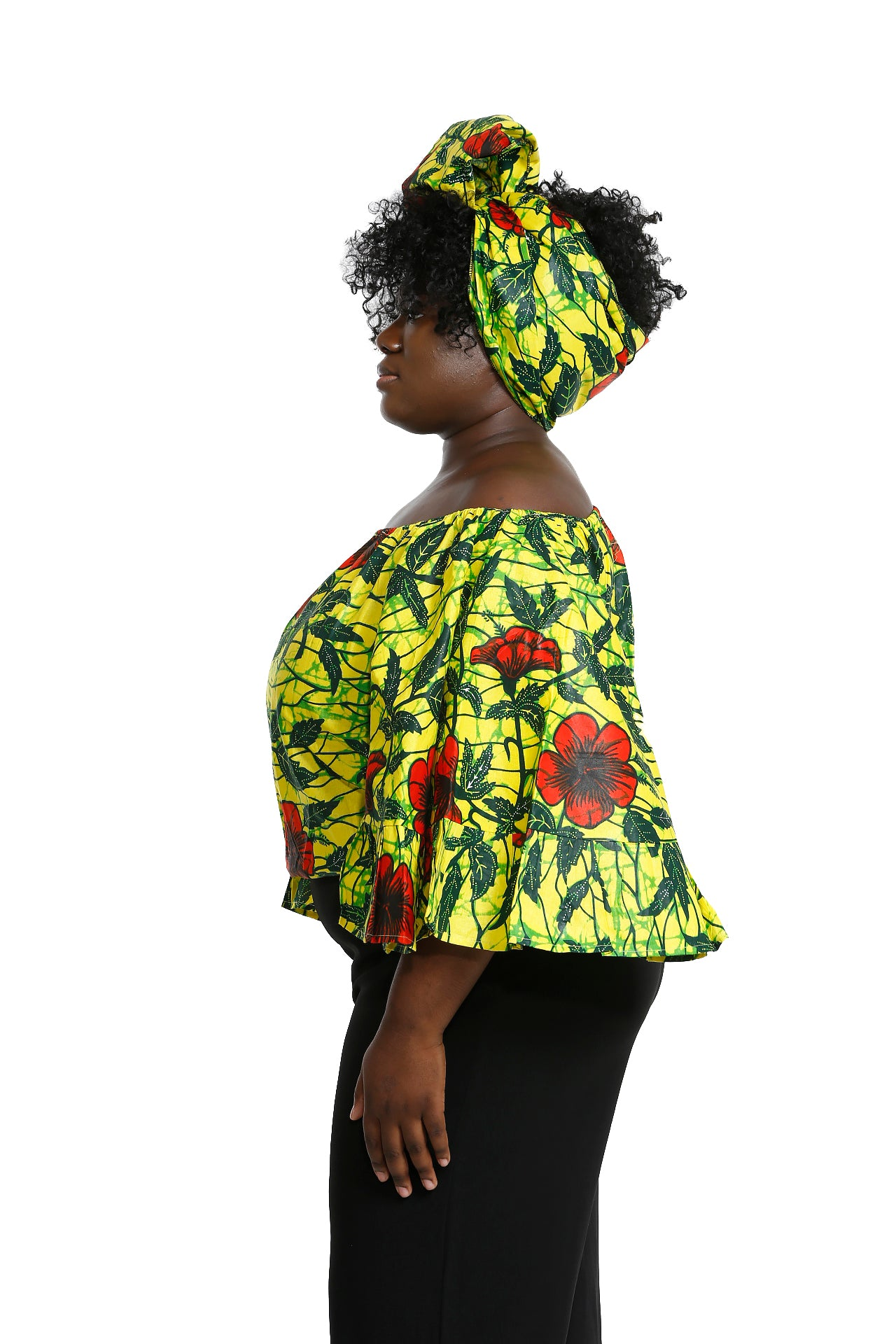 Jardin African Fabric Butterly Top and Headwrap