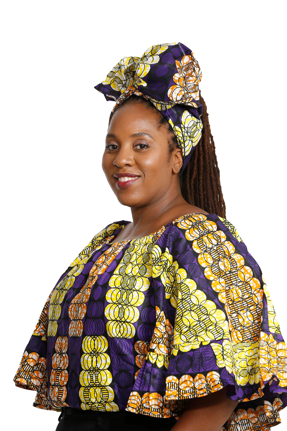 Fatick African Fabric Butterly Top and Headwrap