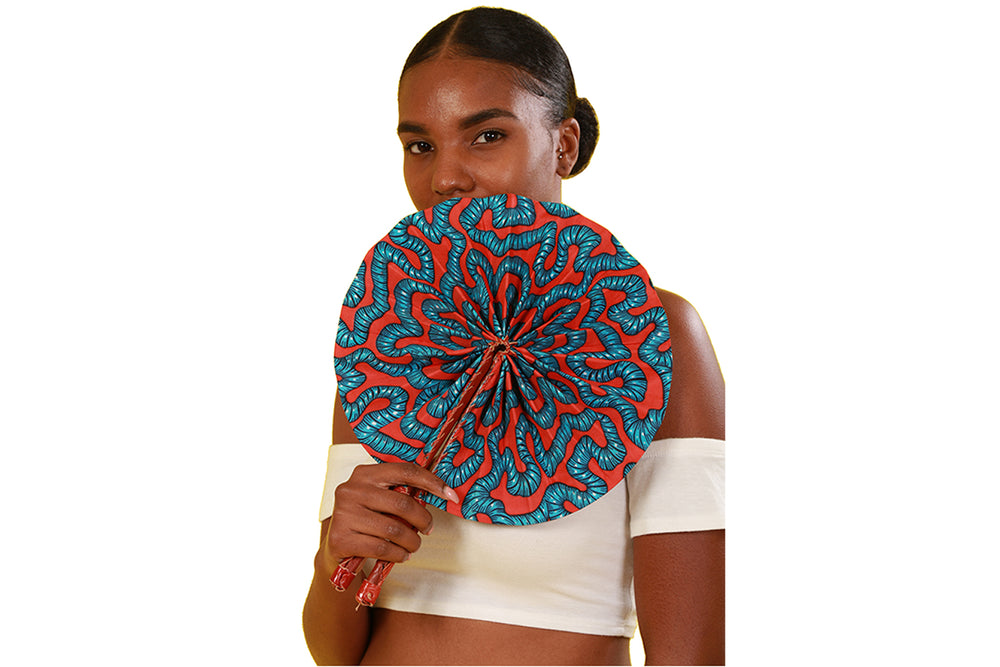 Danquah African Print Folding Fan - Accessories Nolafrique Accessories Fan