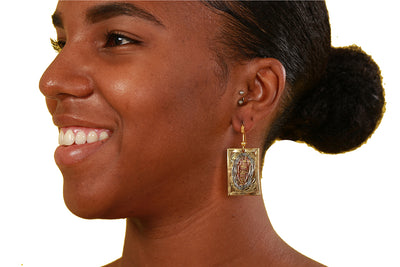 Fatou Vintage Tricolor Brass Earrings - Accessories Nolafrique Accessories Earring