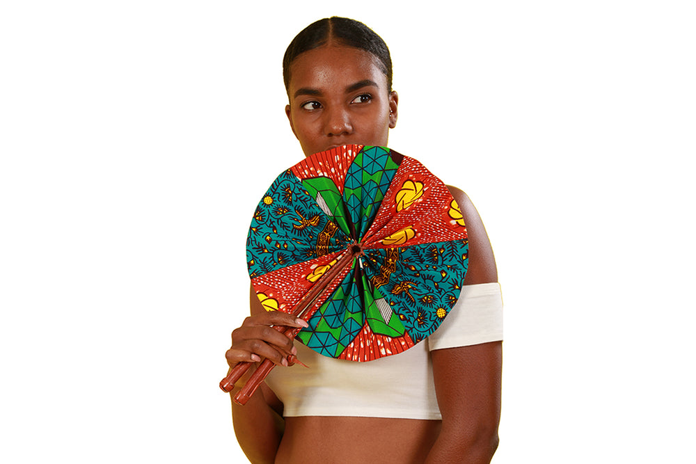 Cudjoe African Print Folding Fan - Accessories Nolafrique Accessories Fan