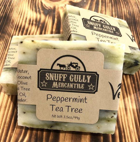 Peppermint Tea Tree Soap - All Natural and Vegan - L.A. Minerals