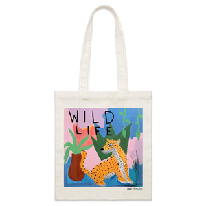 """Wild Life"" Parcel Canvas Tote Bag 