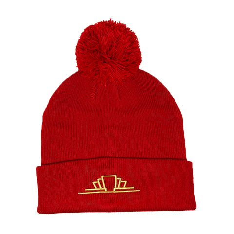 Red Bobble Beanie