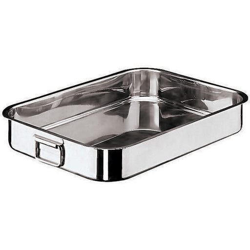 "Paderno World Cuisine 11944-40 Stainless Steel Heavy Roasting Pan, Folding Handles, W 10 1/4"" x L 15 3/4"" x H 3 1/2"" - FoodEquipmentDirect"