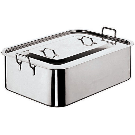 "Paderno World Cuisine 11965-50 Stainless Steel Deep Brazier with Cover, W 11 7/8"" x L 19 5/8"" x H 6"" - FoodEquipmentDirect"