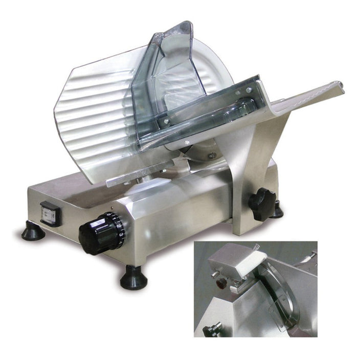 "<img src=""https://cdn.shopify.com/s/files/1/0084/6109/0875/products/195S_2.jpg?v=1572108655"" alt=""Omcan Meat Slicer, Gravity Feed, 8"" Dia. Carbon Steel Blade"">"