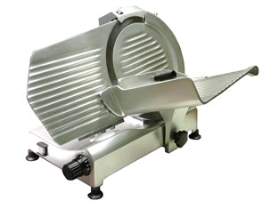 "Omcan 300R (21624) Gravity Meat Slicer, 12"" Dia. Carbon Steel Blade, Anodized Aluminum Body, 1/3 HP - FoodEquipmentDirect"