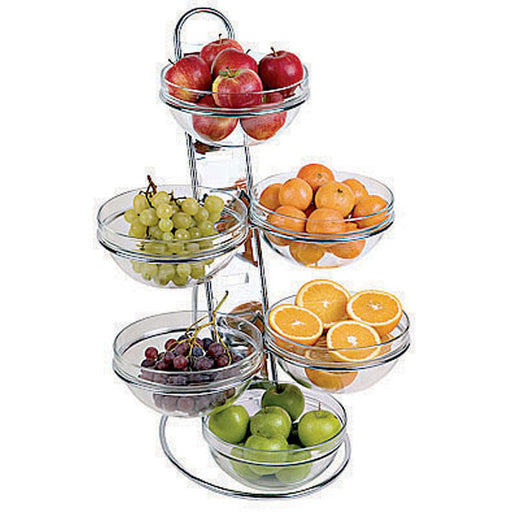 "Paderno World Cuisine 41913-04 Chromed Four-Tier ladder & Large Bowl Set, W 12 1/8"" x L 15 3/8"" x H 26"" - FoodEquipmentDirect"