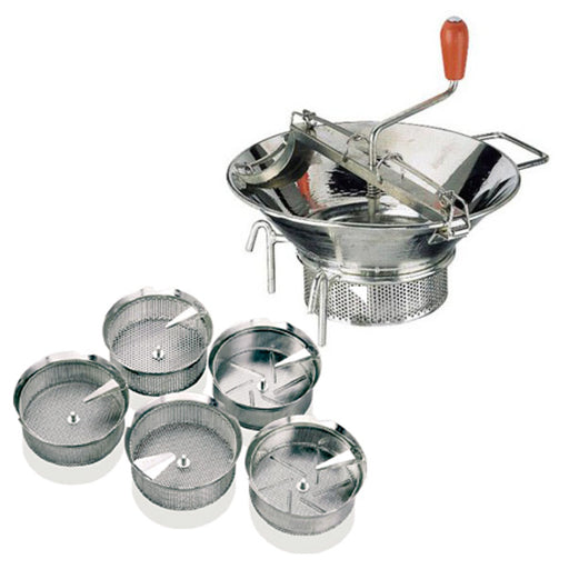 "Paderno World Cuisine Tin Food Mill with 1/8"" Five Sieve's"