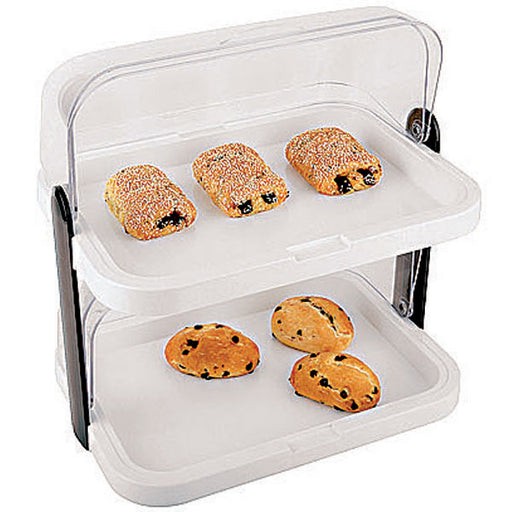 "Paderno World Cuisine 47091-02 Two-Tier Cold Food Display Set with Covers, W 12 1/2"" x L 17 3/8"" x H 17 3/8"" - FoodEquipmentDirect"