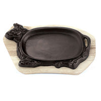 "Paderno World Cuisine 49615-01 Cast-Iron Sizzling Platter With Wooden Tray, Dim 13 1/8"" x 8 5/8"", H 1 1/2"""