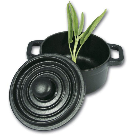 "Paderno World Cuisine A1730210 Black Round Dutch Oven, Dia 4"" x H 3"", 0.3 Qts - FoodEquipmentDirect"