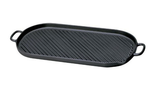 "Paderno World Cuisine A1733746 Oval Cast-Iron Grill, W 18 3/8"" x L 9"" x H 1"" - FoodEquipmentDirect"
