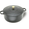 "A1737018 Black Round Dutch Oven, Dia 7 1/8"" x H 3 1/8"", 2 Qts"