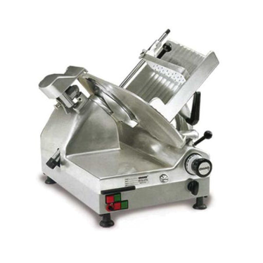 "Omcan CXMAT330 (13645) Automatic, Omas Meat Slicer, Gravity Feed, 13"" Dia. Carbon Steel Blade, 1/2 Hp Carriage & 1/2 Hp blade - FoodEquipmentDirect"