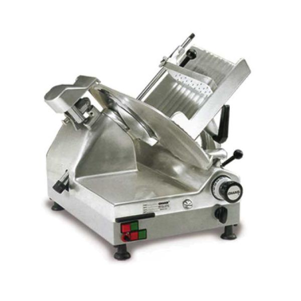 "Omcan CXMAT330 (13645) Automatic, Omas Meat Slicer, Gravity Feed, 13"" Dia. Carbon Steel Blade, 1/2 Hp Carriage & 1/2 Hp blade"