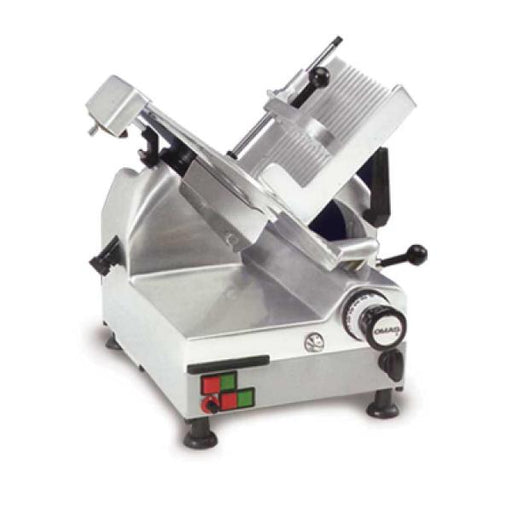 "Omcan GLMAT (13654) Automatic Omas Meat Slicer, Gravity Feed, 12"" Dia. Carbon Steel Blade, Removable Slice Deflector, Blade Cover & Carriage - FoodEquipmentDirect"